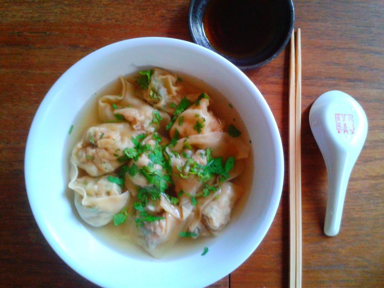 Won Ton soup Raviolis chinois La Kitchenette de Miss Tâm
