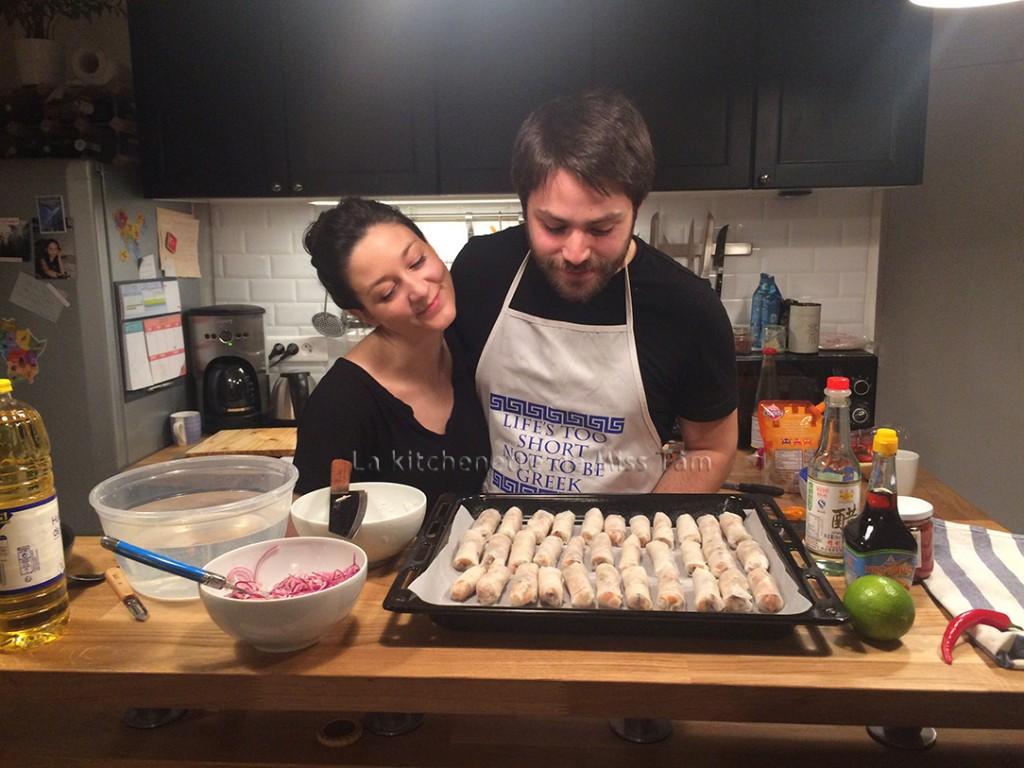 Camille et Paul, cours particulier de cha gio (nem frits), janvier 2016