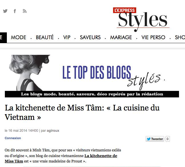 LEXPRESS STYLES KITCHENETTE DE MISS TAM PORTRAIT 2014