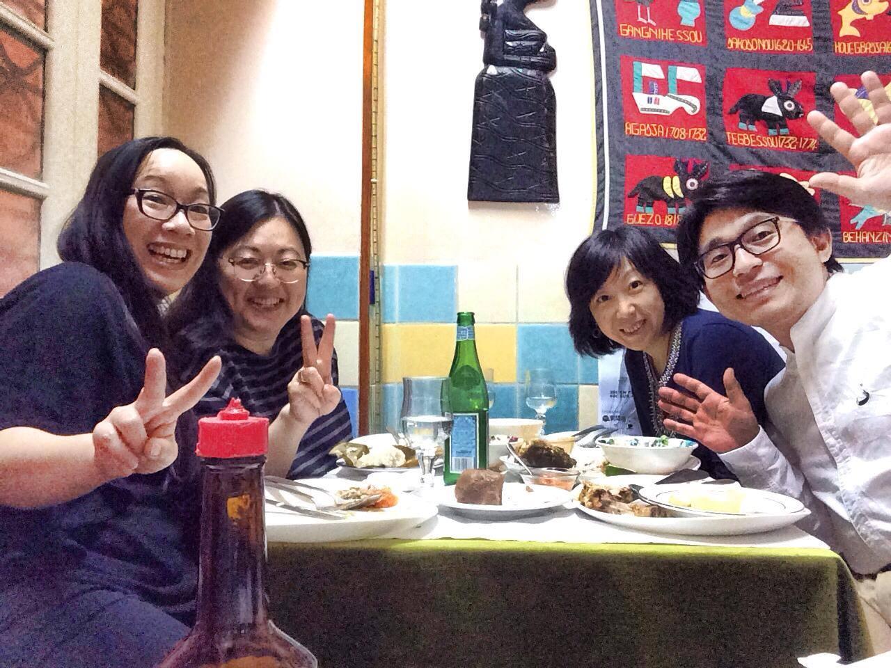De gauche à droite : Minh-Tâm Trân, Chihiro Masui, Margot Zhang et Taisuke Yoshida (photographe)